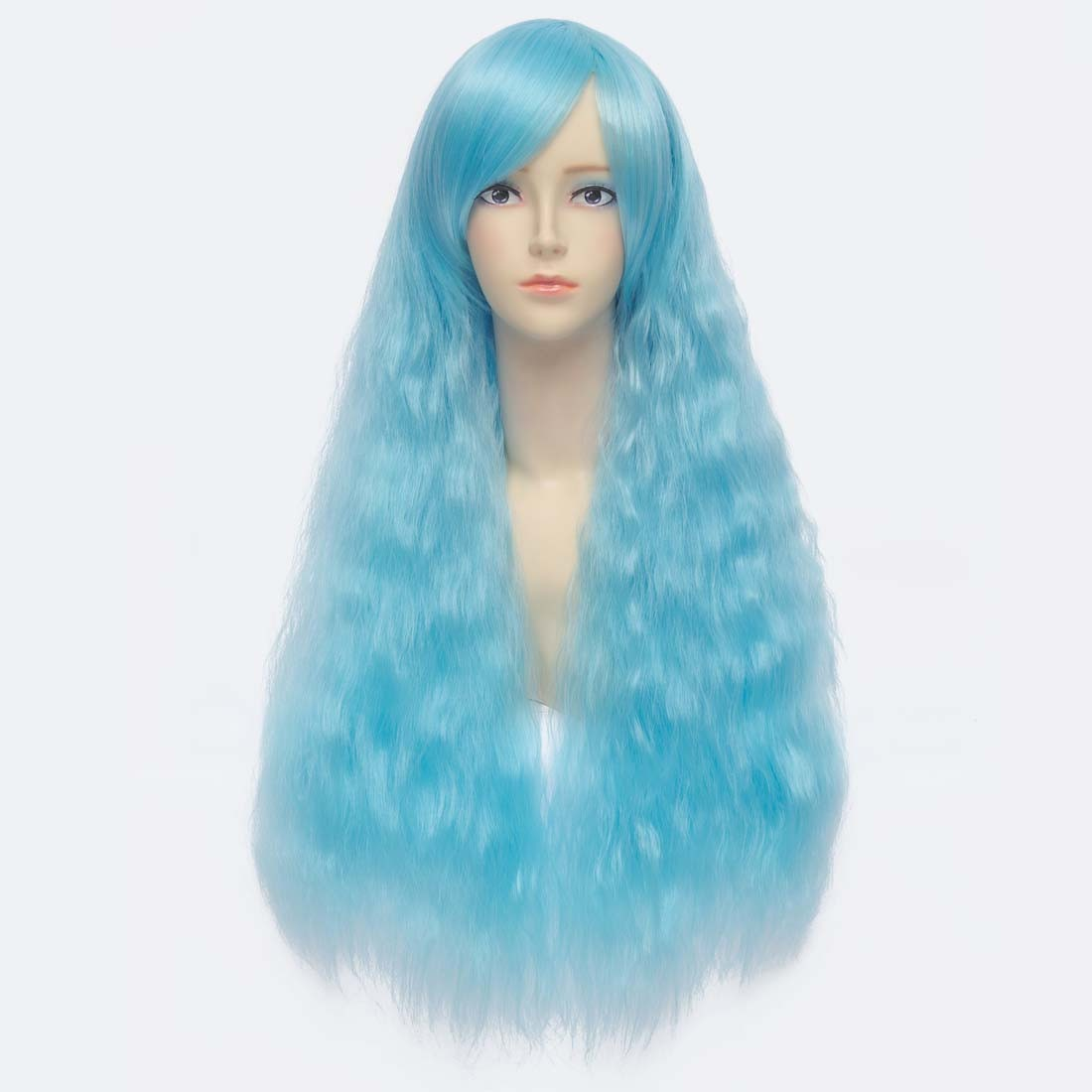 65cm New Fashion Blue Long Wavy Curly Synthetic Anime Full Cosplay Costume Wig