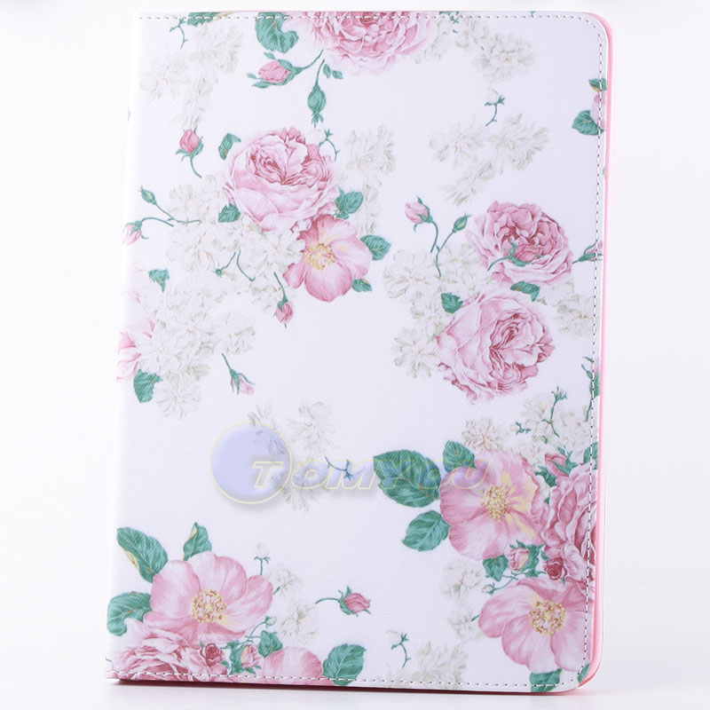 New Arrival For iPad 5 iPad air Case Fashion Leather Picture Cover Stand Holder Card Slot For Apple iPad5 iPadair Wholesale