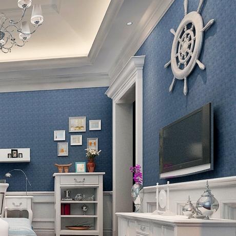 Plain pure Dark Blue pvc embossed wallpaper rolls for living room background wall wallpaper vinyl wallcoverings(China (Mainland))