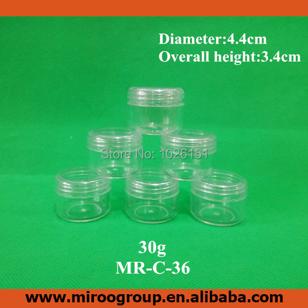 100pcs 1oz 30ml 30g empty plastic clear jars cosmetic cream make up cosmetic jar refillable bottle