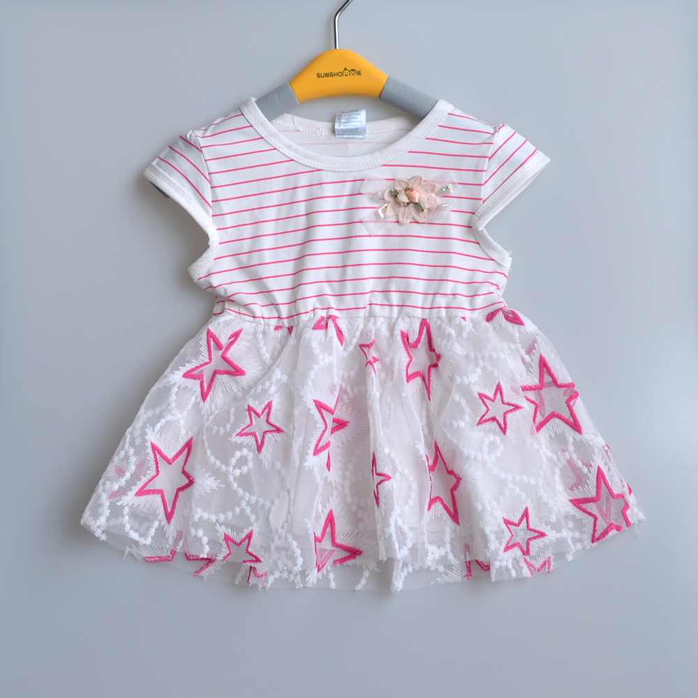 0-3Y New summer baby dresses girl princess dress striped 1 year birthday dress vestido infantil cotton baby girls clothes(China (Mainland))