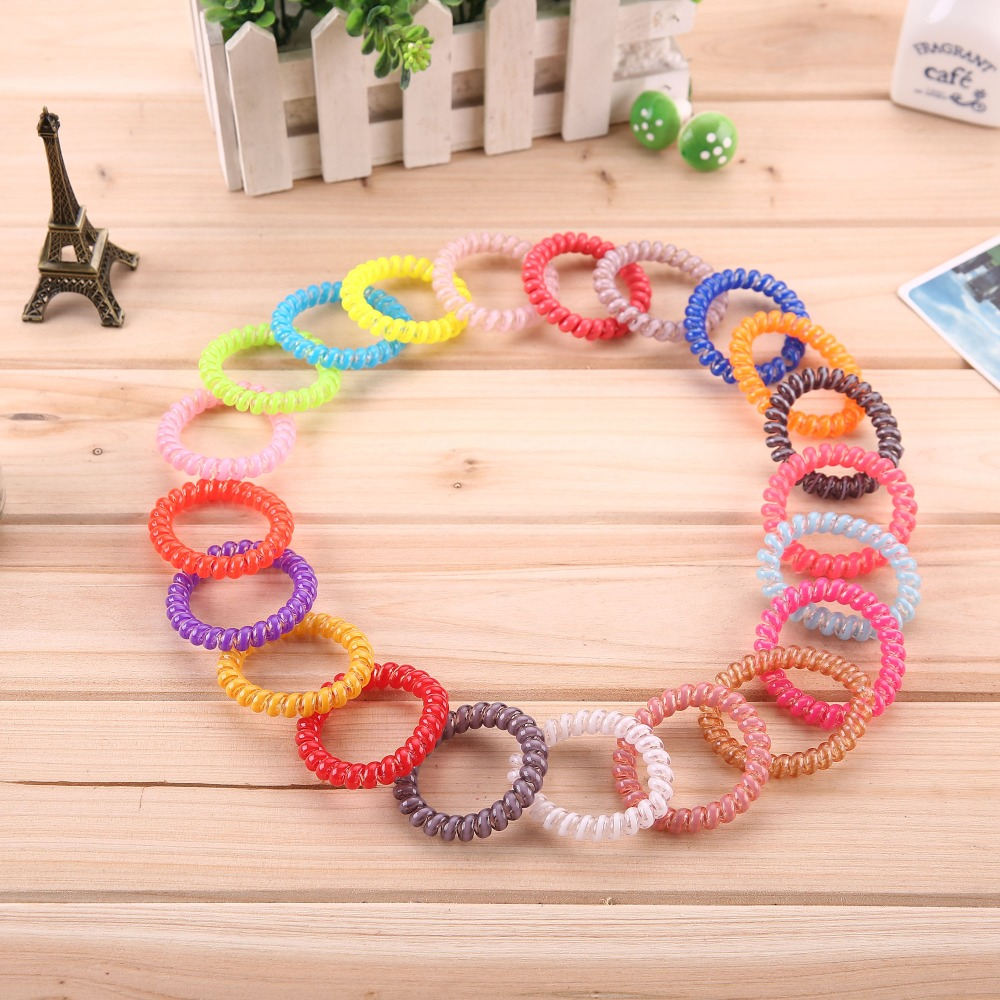 5pcs/lot Telephone Wire Line Cord Invisi Bobble Traceless Rubber Band Hair Ties Girl Elastic Hair Bands Hairband hair accessores(China (Mainland))