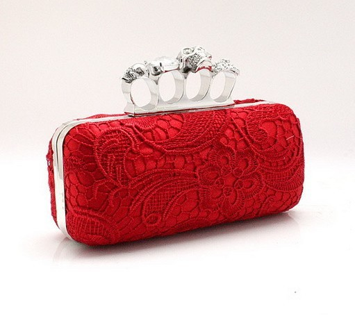 Red Chinese Bridal Wedding Party Mini Bag Satin Lace Rhinestone Handbag Skull Clutch Knuckle Rings Wallet Size 19x 9cm 1110(China (Mainland))