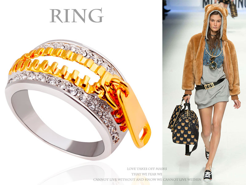 R127 Free Shipping Zinc Alloy Material Silver and Gold Plated Unique Fullfill CZ Diamond Ring Girls Fashion Trendy Zipper Ring(China (Mainland))