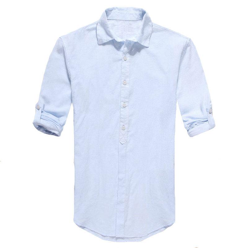 Plus Size Shirts Swag Cotton Linen Men Shirt Long Sleeve Summer Style Hawaiian Shirts Sexy Slim