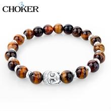 2016 Natural Stone Buddha Charm Bracelets With Stones Beads Bracelets For Women Men Silver Turkish Jewelry Pulseira Masculina(China (Mainland))