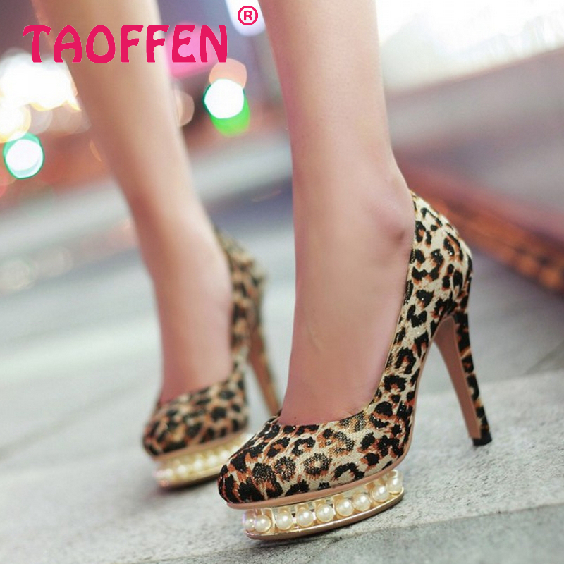 women high heel shoes platform leopard pearl footwear sexy brand party spring fashion heeled pumps heels shoes size 34-39 P17055<br><br>Aliexpress