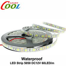 Waterproof LED Strip 5050 DC12V Flexible LED Light IP65 Waterproof 60LED/m 5m/Lot RGB LED Strip.(China (Mainland))