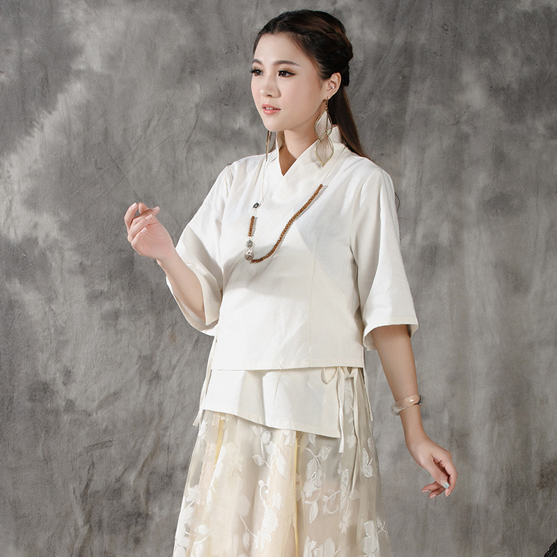 Pure Color Tang Dynasty Chinese Style Clothing Double Linen Loose Big Yards Women's Shirt Waistband Seven Sleeve TF009(China (Mainland))