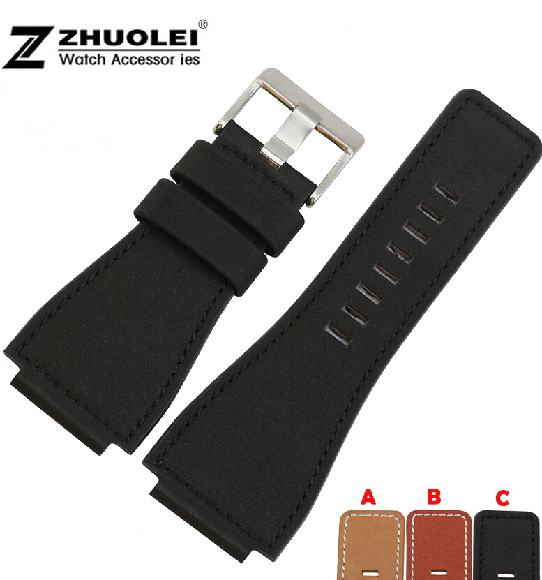 24mm Genuine Leather Watch Strap Band Mens Stainless Steel Buckle For BR01 BR03 <br><br>Aliexpress