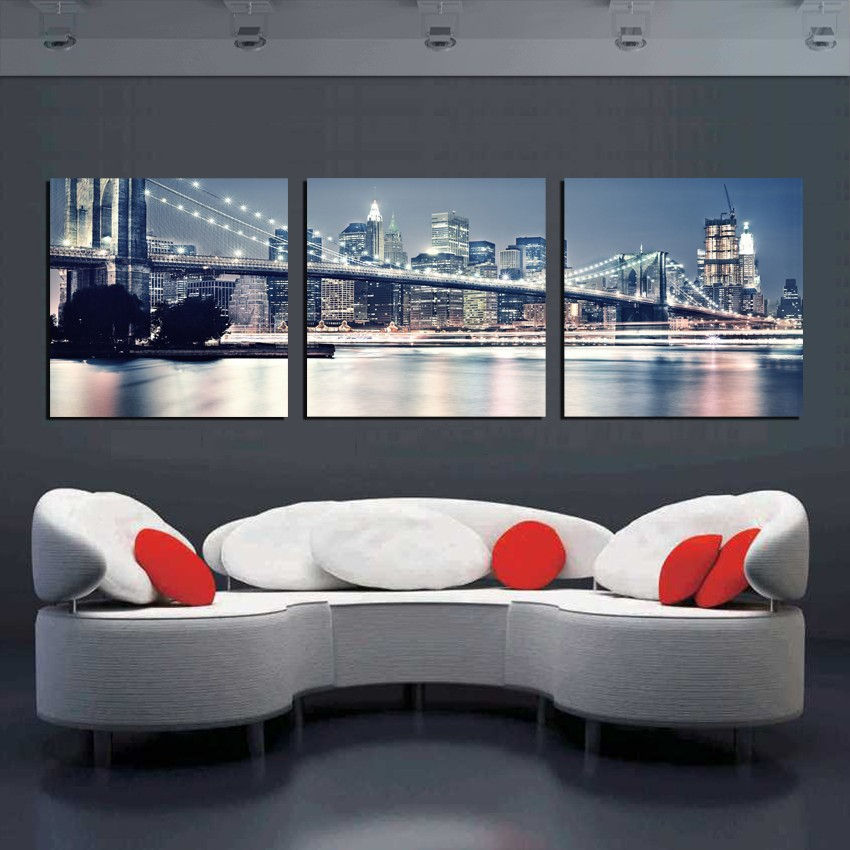 3 Pieces canvas art Landscape Painting New York Oil Painting City Night Art Pictures Canvas Prints,digital art paintings(China (Mainland))