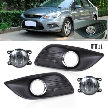 Tracking# New Black Front Lower Left Right Bumper Fog Light Grille Cover+Fog Lamp Kit for 2009 2010 2011 Ford Focus Sedan 4 Door
