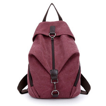 Pretty style pure color canvas women backpack college student school book bag leisure backpack travel bag(China (Mainland))
