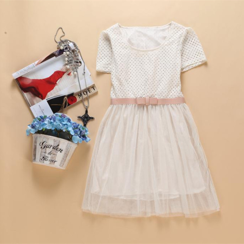 Girl's Summer Tulle Ball Gown Dress Patchwork Mesh Short Sleeve O Neck Hollow Out Top Dress with Bow Belt Lady Princess Dress(China (Mainland))