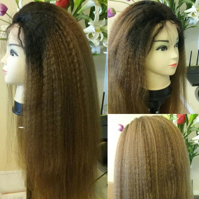 T #1b Dark Roots,Left Hair #30,Kinky Straight,Coarse Yaki Straight 100 Indian Human Hair Lace Front Wig(China (Mainland))