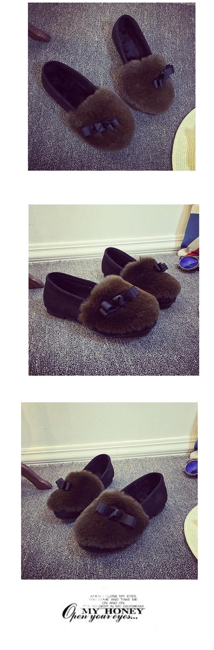 2016 Women Winter Shoes Fashion Women's Flats Rabbit Fur Shoes Leopard Metal Casual Brand Shoes Plus Size 35-40