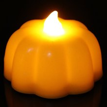 Holiday Decro Halloween props Mini Simulation Pumpkin Style Flame Twinkle LED Yellow Light Candle Lamp - Orange(China (Mainland))