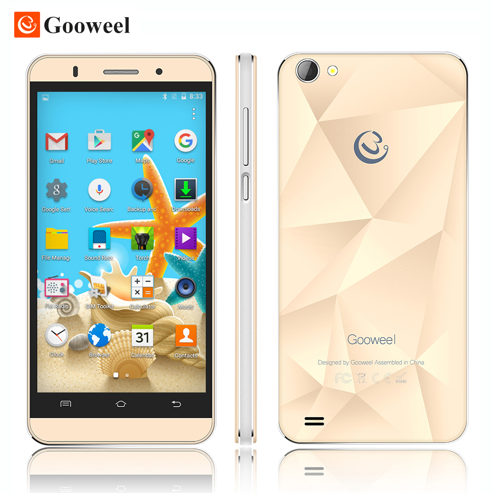 100% Original Gooweel M5 mobile phone MTK6580 quad core 5 inch IPS screen smartphone 5MP/5MP camera GPS 3G cell phone Free Gift(China (Mainland))
