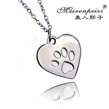 2016 Hot promotion new jewelry trend minimalist footprint puppy sad heart creative design alloy pendant necklace