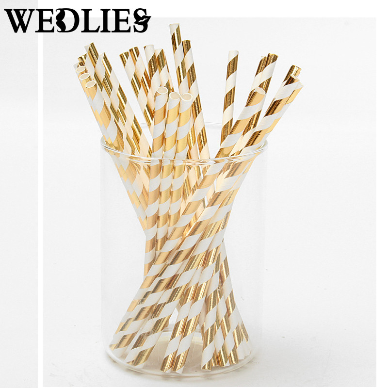 25pcs/lot Foil Paper Straws for Wedding Baby Shower Birthday Party Decorative Gold Silver Drinking Straws Supplies(China (Mainland))