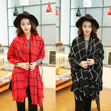 Winter 2016 Tartan Scarf Plaid Scarf New Designer Women Acrylic Basic Shawls Women's Red Oversized Blanket Scarves with Tassel