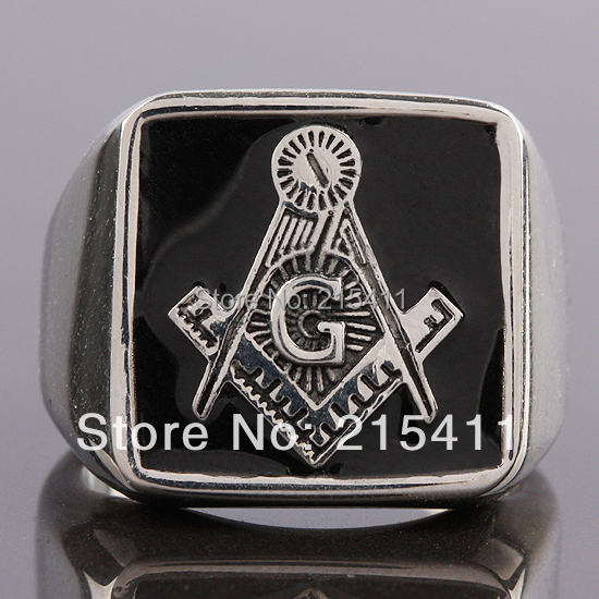 1Pc Men's Freemasonry Free Mason Masonic Stainless Steel Bar Finger Rings(China (Mainland))