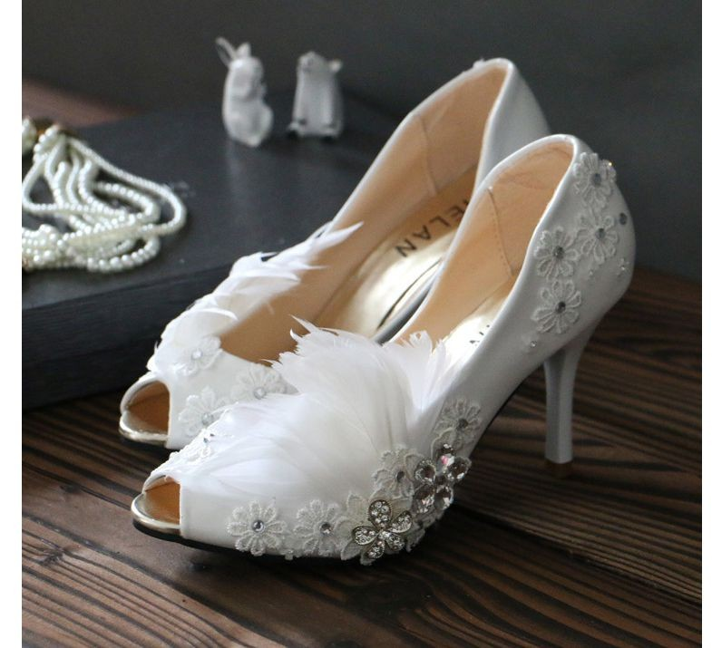 Woman's spring summer sexy open peep toes wedding pump shoe, TG158 feathers crystal lace sexy thin high heel bridal wedding shoe