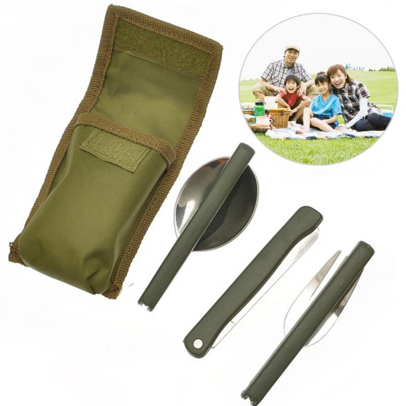 New 3pcs/set Multi-function Stainless Steel Army Green Folding Cutlery Set with Pouch Cooking Survival Camping Picnic Tableware(China (Mainland))