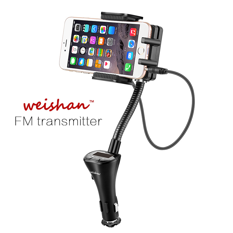 Weishan 3.5 mm universal car FM transmitter modulator holder mobile phone stereo MP3 player USB charger for iphone 6plus 5s(China (Mainland))