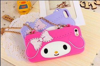 30pcs/lot Whosale My melody 3D cute silicon handbag case cover for iphone 5C case DHL  free shipping