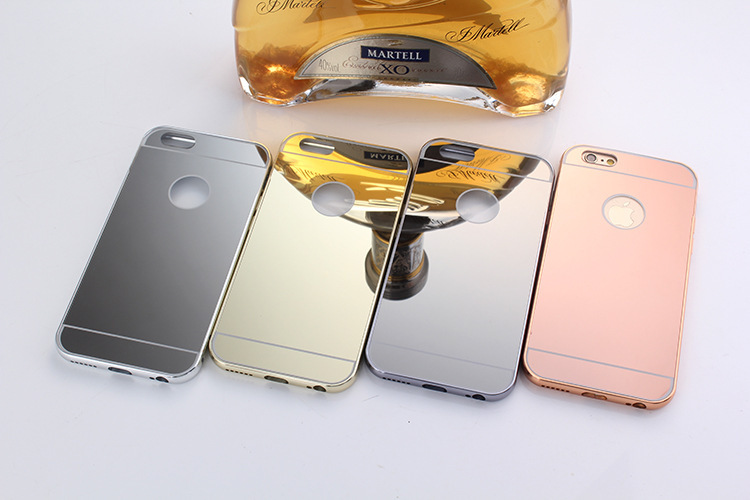 """10pcs Luxury Ultra Thin Mirror Back + Aluminum Bumper Cover For Apple iPhone 6 4.7"""" Capa Para For iphone6 Mobile Phone Bags(China (Mainland))"""