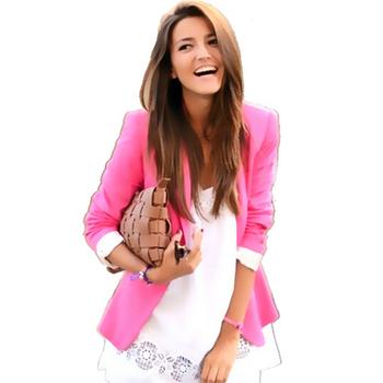Новые 2015 блейзер женщин летом стиль блейзер feminino одной кнопки пиджак дамский конфеты 8 color xs-xxl горячая распродажа бесплатная доставка