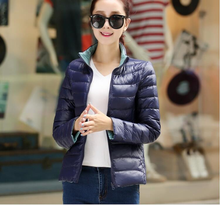 Women down coat Plus Size Ultralight Winter two sides wears down jacket Slim Winter Outwear Manteau