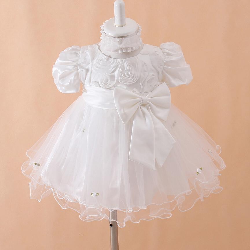 newborn formal dresses beige puff sleeve baby girl