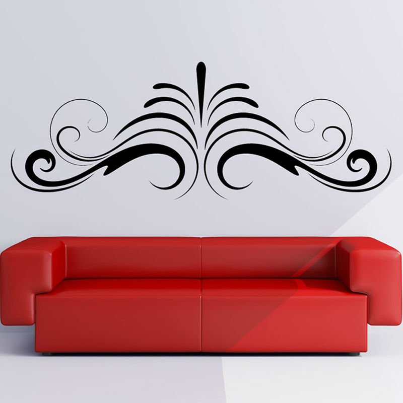 Symmetrical Simple Swirl Abstract Shape Sofa Background Home Decor DIY Waterproof Wall Sticker