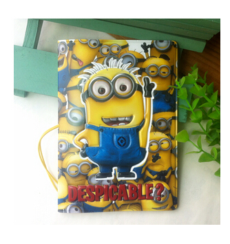 2014 New arrival fashion Despicable Me Daddy Thief little yellow people 3D PU passport holder passport cover passport package(China (Mainland))