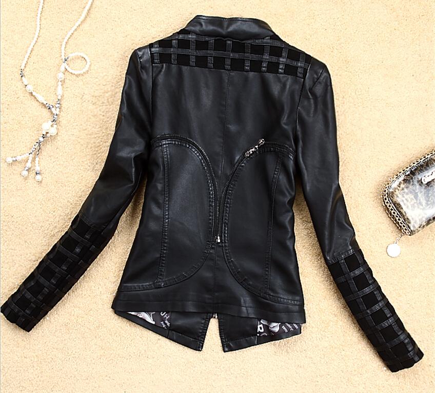 Весна дамы кожа куртка 4XL куртки женщины кожа одежда мотоцикл кожа пальто женщины