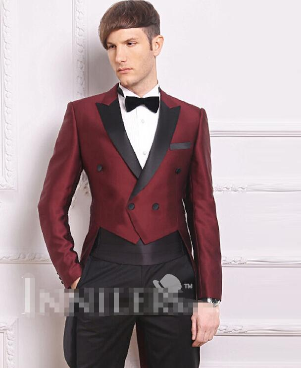 Black And Burgundy Prom Suit Dress Yy