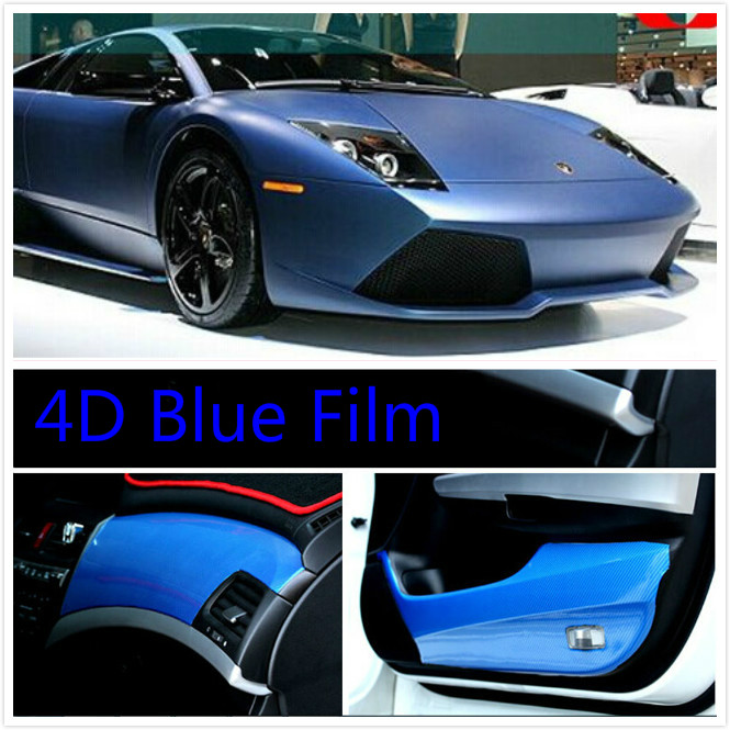 600mmX1520mm BLUE Waterproof DIY Car Sticker Car Styling 4D Thicken3M Car Carbon Fiber Vinyl Wrapping Film Retail Packaging