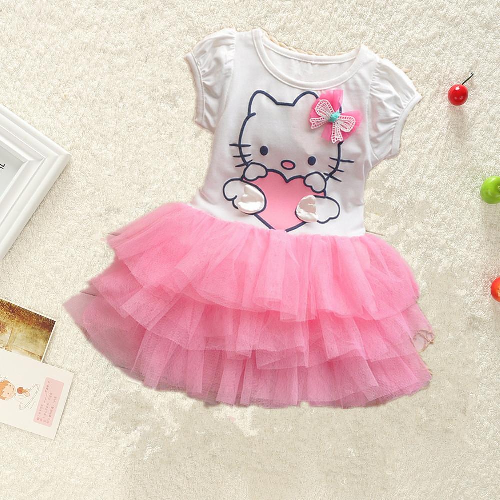 2016 hello kitty dress children clothing baby Kids dresses fantasia infantis vestido lolita style ball gown summer dress(China (Mainland))