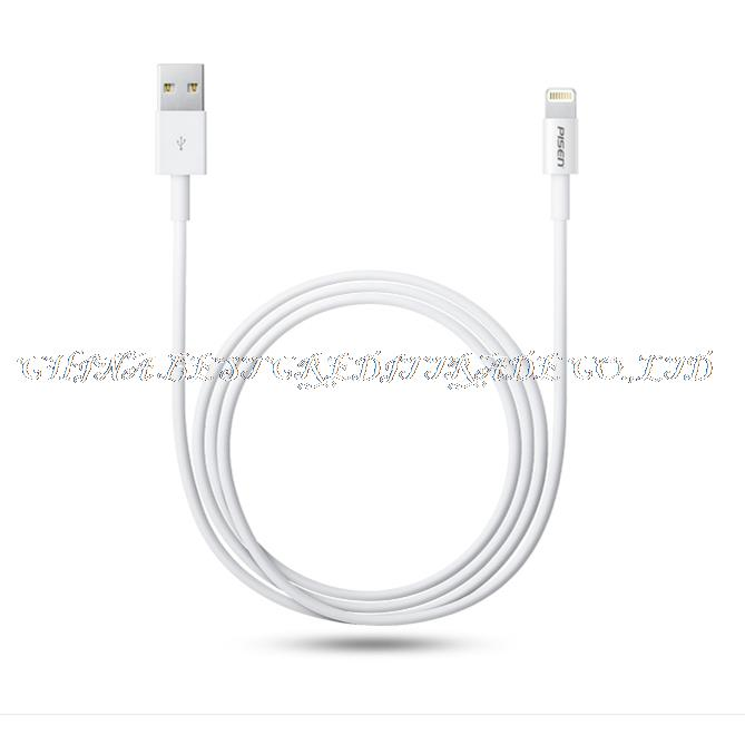 PISEN Update 2015 Latest White Wire 8pin USB Date Sync Charging Charger Cable for iPhone 5 5s 6 6s plus for iPad for ios 8 9()