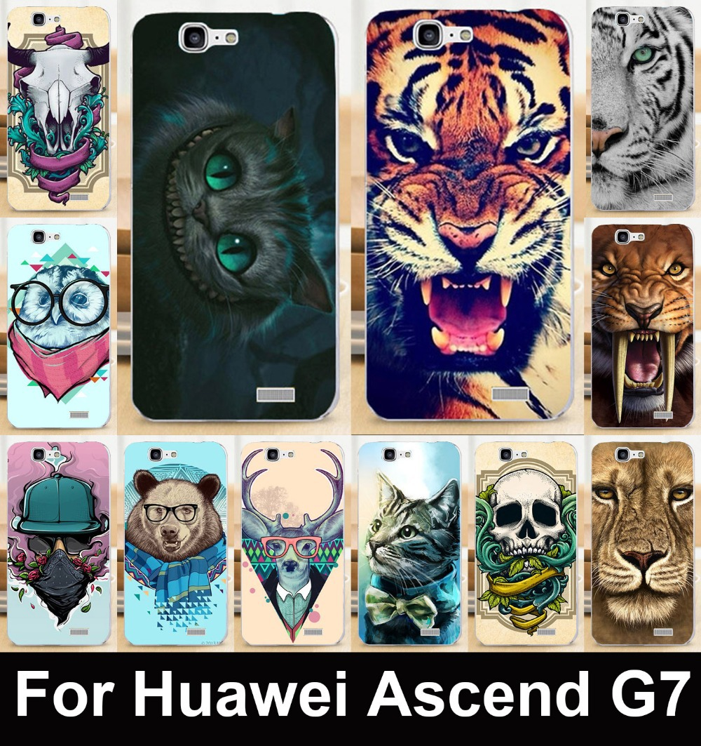 Muti-styles Colorful animal patterns mobile phone case for Huawei Ascend G7 C199 protective case hard Back cover Skin Shell(China (Mainland))