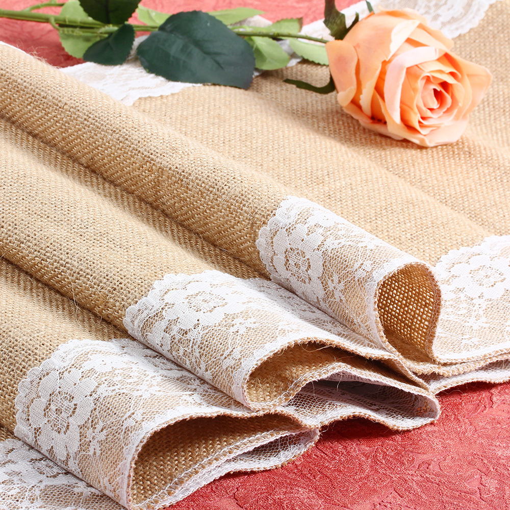 30cm*245 Vintage Burlap Lace Hessian Table Runner Natural Jute Country Party Wedding Decoration Linen Runner Table Decoration(China (Mainland))