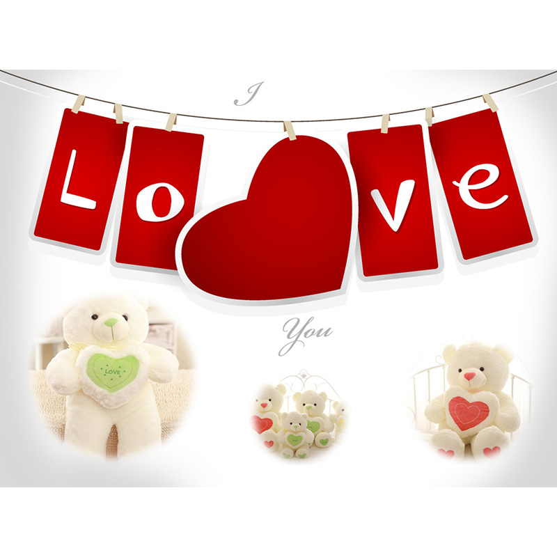 2017 New 110cm Beautiful Heart Teddy Bear Incleded Soft Toys Cute Plush Kids Toy Doll For Valentine' s Day Gift(China (Mainland))