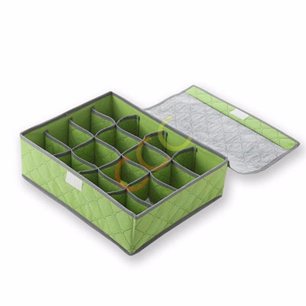 16 Cells Green Folding Plaid Non-woven Fabrics Socks Storage Box Bag With Cover Charcoal Organizer(China (Mainland))