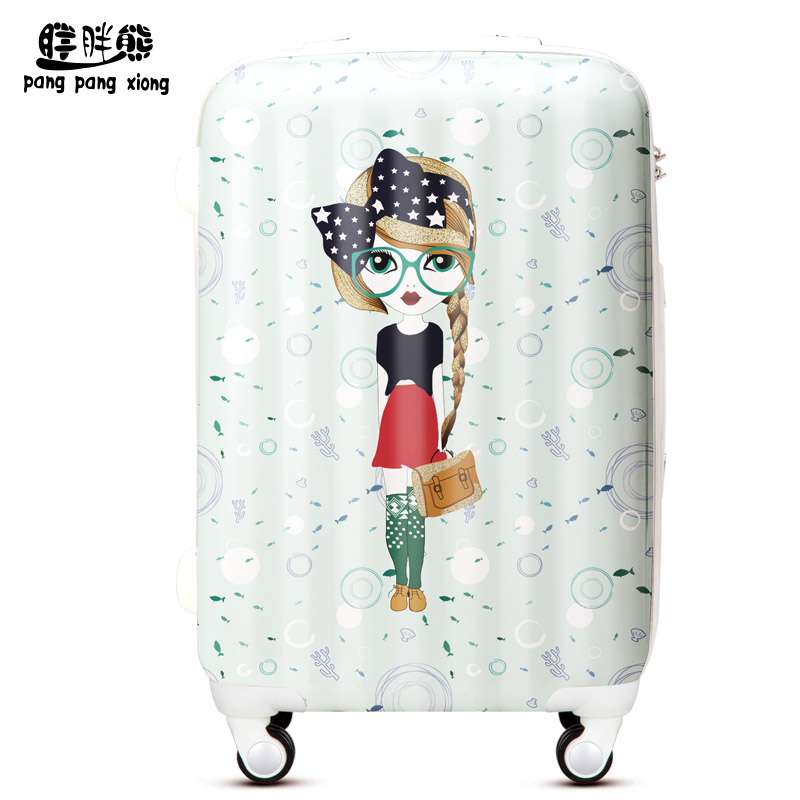 "Free shipping fresh girl women's trolley luggage fashion suitcase aircraft wheel ABS+PC travel bag luggage20""24""28""(China (Mainland))"