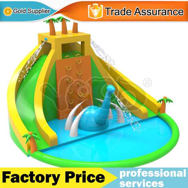 Super dinosaur inflatable water slide swimming pool waterpark bounce house new with blower(China (Mainland))