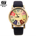 GUOTE Brand Retro Punk Watch 2016 Women Colorful Dial Leather Quartz Watch Ladies Dress Watch Casual