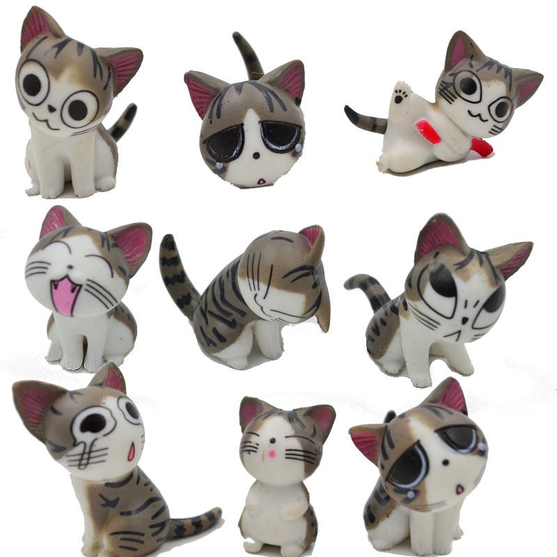 9pcs, Multi Color Micro Cute Kitty Mini Chis Chi Sweet Home Figures Dolls Youhei Cat Kitten Emoticon Emoji Decoration Model Toys(China (Mainland))