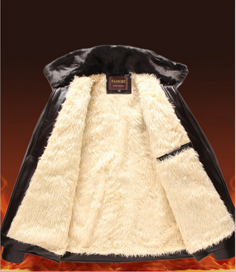 2015 New Winter Men Leather Coat Long With Fur Collar Detachable Wool Blend Lining PU Jacket